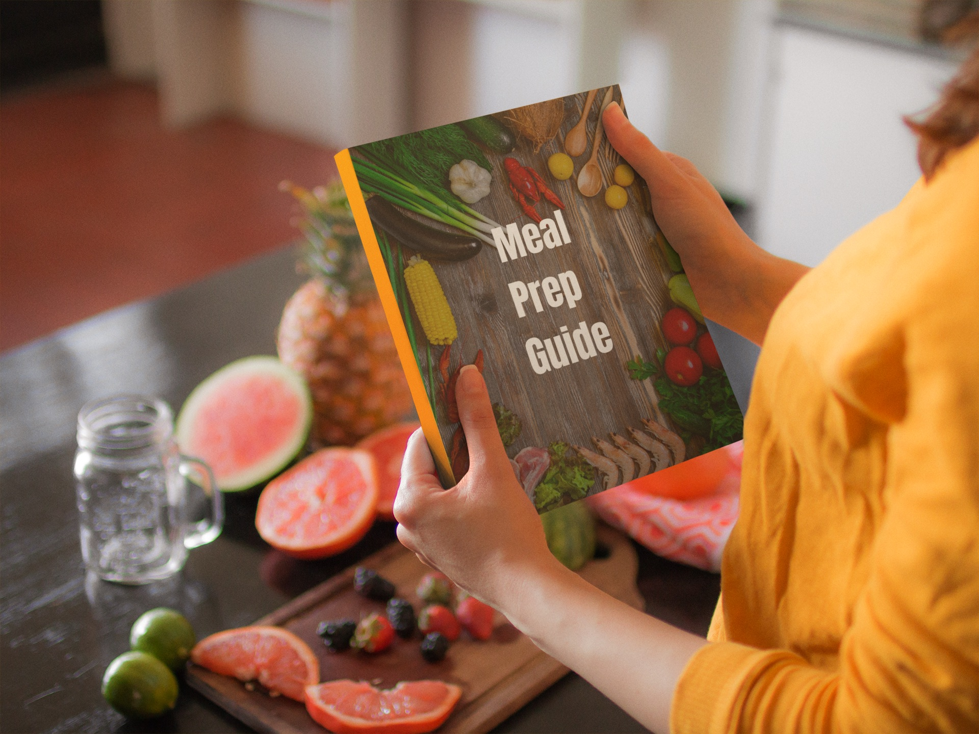 woman holding meal prep guide
